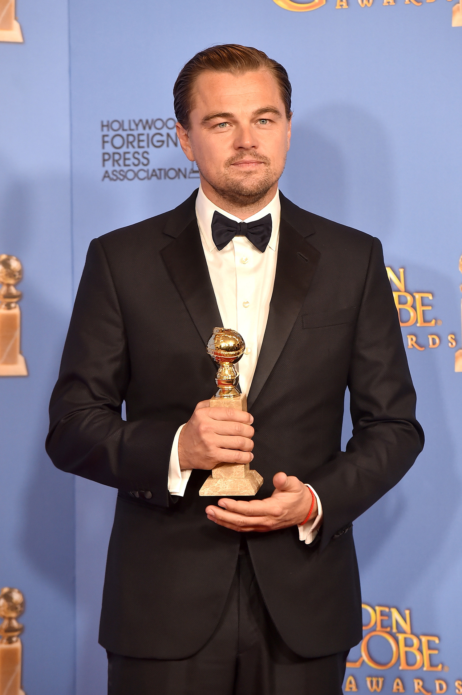 BEVERLY HILLS, CA - JANUARY 10: Actor Leonardo DiCaprio, winner of Best Performance in a Motion Picture - Drama for 'The Revenant,' poses in the press room during the 73rd Annual Golden Globe Awards held at the Beverly Hilton Hotel on January 10, 2016 in Beverly Hills, California. Kevin Winter/Getty Images/AFP