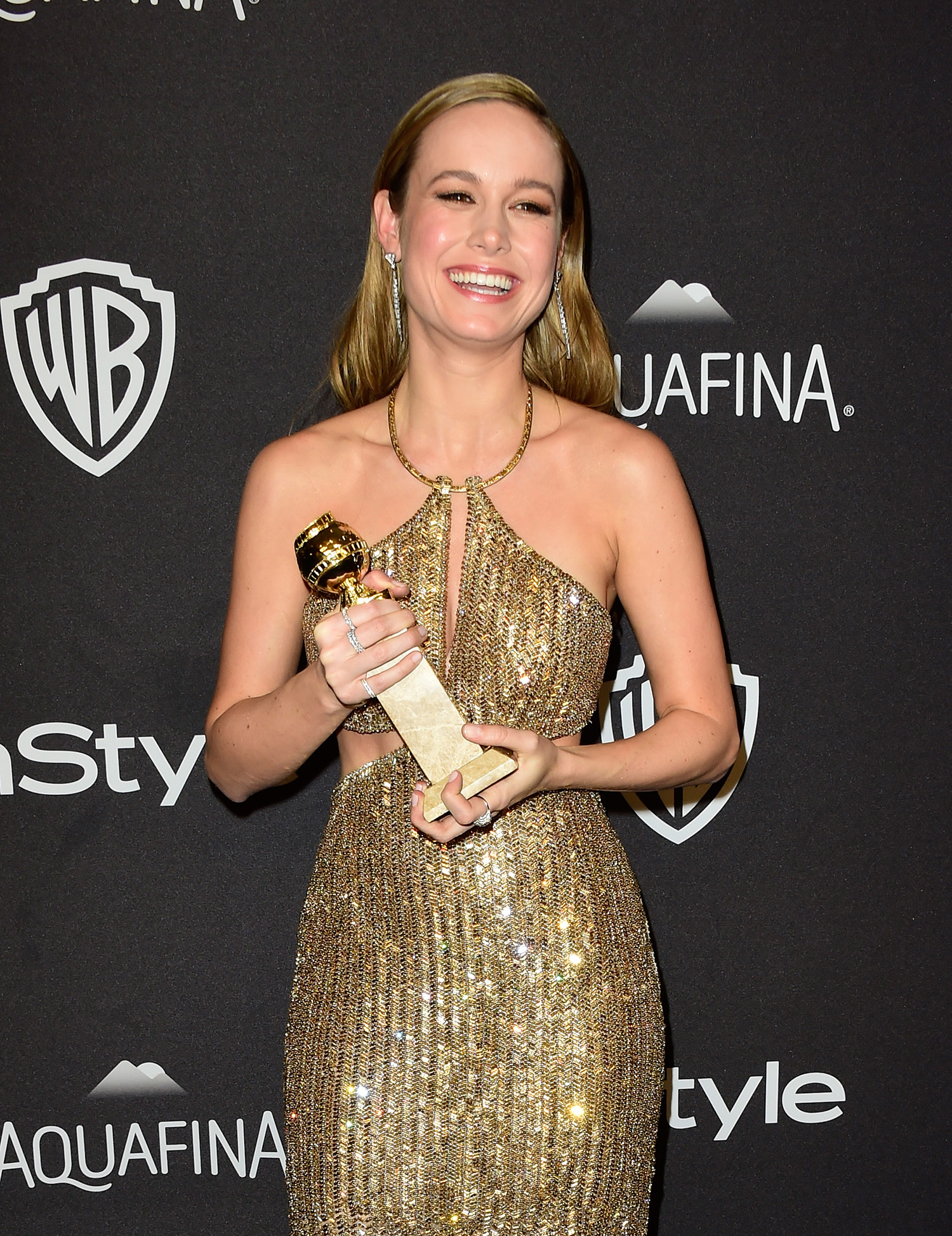 BEVERLY HILLS, CA - JANUARY 10: Actress Brie Larson, winner of Best Performance in a Motion Picture - Drama for 'Room,' attends InStyle and Warner Bros. 73rd Annual Golden Globe Awards Post-Party at The Beverly Hilton Hotel on January 10, 2016 in Beverly Hills, California. Frazer Harrison/Getty Images/AFP