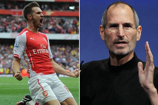 Steve Jobs perdió la vida el 5 de octubre del 2011, tres días después de que Ramsey le anotara un gol al Tottenham.