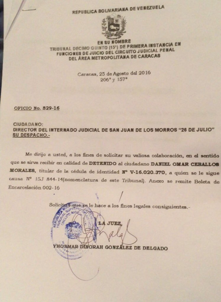 Boleta de encarcelación de Daniel Ceballos