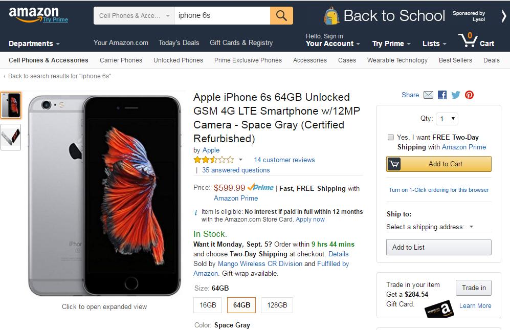 precio iphone 6S amazon